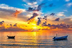 Sunrise over ocean. Colorful sunrise over ocean on Maldives Stock Photography