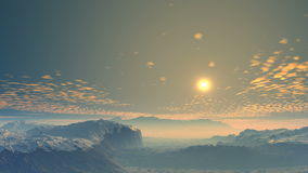 Colorful sunrise over the valley. On the horizon, low mountains and hills. The valley is covered with a white morning fog. Above the horizon narrow strip of vector illustration