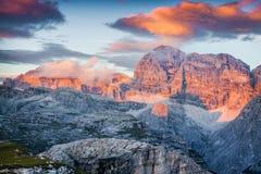 Colorful sunrise on the Paternkofel mountain range Stock Image