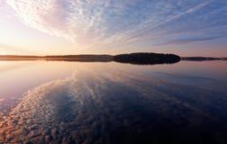 Colorful sunrise on the Saimaa lake Royalty Free Stock Image