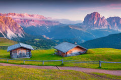 Colorful sunrise on the Sassolungo (Langkofel) and Sella group Stock Photography