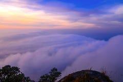 Colorful of Sunrise scene with Mist on mountain at Doi Mokoju Royalty Free Stock Photography