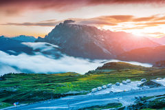 Colorful sunrise on the Seekofel mountain range Stock Photos