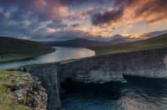 Colorful sunrise at Traelanipa viewpoint, Sorvagsvatn lake (Leitisvatn), Vagar, Faroe Islands