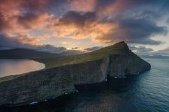 Colorful sunrise at Traelanipa viewpoint, Sorvagsvatn lake, Vagar, Faroe Islands