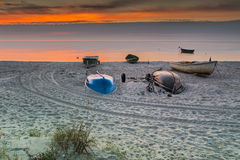 Colorful sunrise at village of fishermen, Baltic Sea Royalty Free Stock Photo