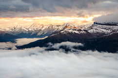 Colorful sunrise with winter mountain range, Banff, Canada Stock Images