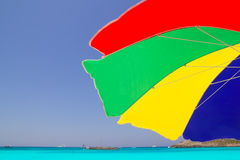 Colorful sunroof in Formentera tropical beach Royalty Free Stock Images