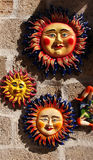 Colorful suns of glazed terracotta. A detailed view of the decoration of a colorful suns of glazed terracotta, sciacca, sicily, portrait cut Royalty Free Stock Photography