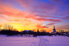 Colorful sunset. Russian countryside at winter, Nizhny Novgorod area Stock Image
