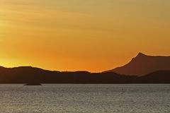 Colorful sunset. Over the norwegian sea Stock Image