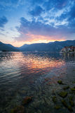 Colorful sunset on Adriatic Sea, Bay of Kotor Stock Photos