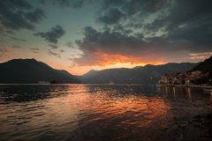 Colorful sunset on Adriatic Sea, Bay of Kotor Royalty Free Stock Photo