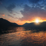 Colorful sunset on Adriatic Sea, Kotor Bay Royalty Free Stock Images