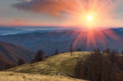 Colorful sunset in the autumn mountains. Stock Photos
