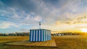 Colorful sunset on the beach of Malvarrosa. Valencia, Spain.  stock video footage
