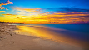Colorful Sunset At A Beautiful Beach In Cuba Stock Image