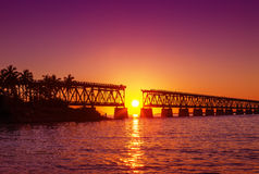 Colorful sunset at broken bridge Royalty Free Stock Image
