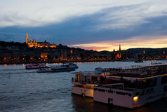 Colorful Sunset in Budapest with a Panoramic view of the river D Stock Image