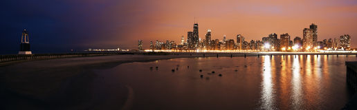 Colorful sunset in Chicago Stock Images