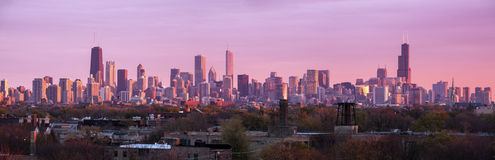 Colorful sunset in Chicago. Panoramic view. Chicago, Illinois, USA Stock Photo