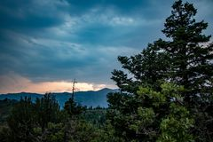 Colorful sunset in the clouds beyond the pine trees royalty free stock photo