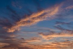 Colorful sunset clouds in the sky. Colorful sunset sky and clouds in it stock image
