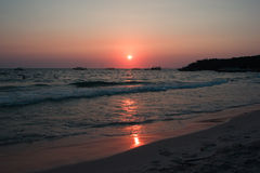 Colorful sunset on the coast of the Gulf of Thailand Royalty Free Stock Photo