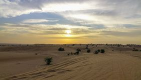 Colorful sunset in Dubai Desert UAE stock photo