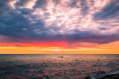 Colorful sunset in the evening over the ocean Stock Images