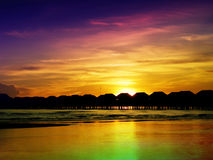 Colorful sunset. In the fishing village royalty free stock photos