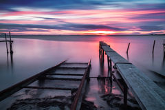 Colorful sunset at the fishing village Stock Photo