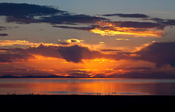 The colorful sunset at the Great Salt Lake Stock Photography