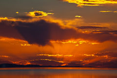 The colorful sunset at the Great Salt Lake Royalty Free Stock Photo