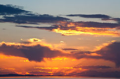 The colorful sunset at the Great Salt Lake Royalty Free Stock Photography