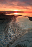 Colorful sunset at the Great Salt Lake. Royalty Free Stock Photos