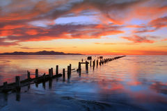 Colorful Sunset at the Great Salt Lake. Stock Photos