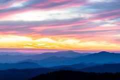 Colorful sunset in the Great Smoky Mountains in Tennessee. stock photo
