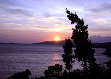 Colorful sunset in Greece royalty free stock photography