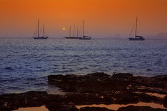 Colorful sunset of Ibiza view from formentera Stock Photo