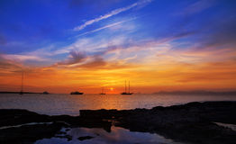 Colorful sunset of Ibiza view from formentera Stock Photography
