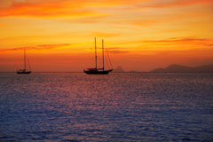 Colorful sunset of Ibiza view from formentera Stock Images