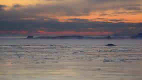 Colorful sunset by the ice cold and freezing Baltic Sea on -15C celsius January evening in Helsinki, Finland. stock video