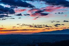 Colorful sunset in the italian vineyards stock images