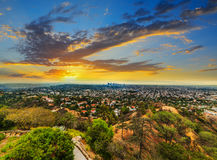 Colorful sunset in L.A. California royalty free stock image