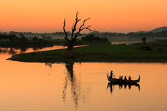 Colorful sunset at the lake, Amarapura, Myanmar Stock Photo