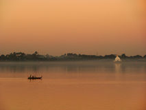 Colorful sunset at the lake, Amarapura, Myanmar Stock Photo