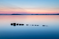 Colorful sunset at lake Stock Photography