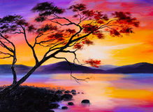 Colorful sunset on the lake, oil painting, art watercolor Stock Image