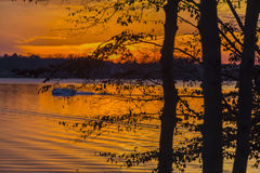 Colorful Sunset At The Lake Royalty Free Stock Photography